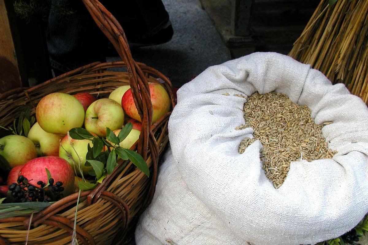 Äpfel und Getreide im Leinensack, Prinzenhof